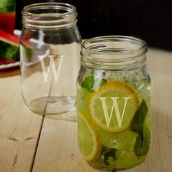 Personalized Initial Mason Jar Drinking Glasses