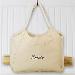 Embroidered Tote With Bamboo Mat