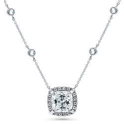 Sterling Silver Cushion Cut CZ Halo Statement Pendant Necklace