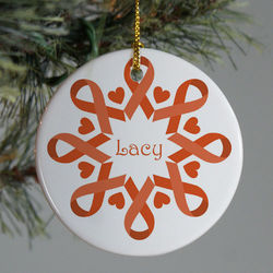 Personalized Orange Ribbon Snowflake Ornament