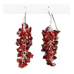 Hand Made Garnet Earrings in Silver