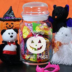 Personalized Sweet Treats Halloween Glass Jar