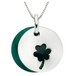 Green Agate Sterling Silver Shamrock Pendant with Chain