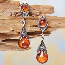 Art Deco Amber Teardrop Earrings