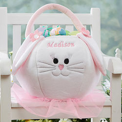 Personalized Girl's Plush Bunny Easter Basket