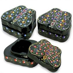 Butterflies in Bloom Lacquered Wood Boxes