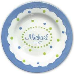 Personalized Blue Mimi 3 Section Plate