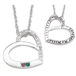 Platinum Plated Mothers Birthstone and Diamond Heart Necklace