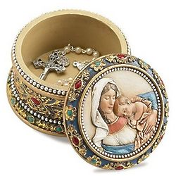 Madonna & Child Rosary Keepsake Box