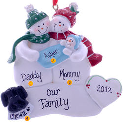Parents, Baby Boy and Dog Snow Family Ornament