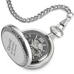 Skeleton Pocket Watch with Black Dial