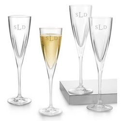 Fusion Champagne Toasting Flutes with Monogram