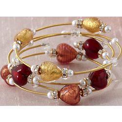 Gold Murano Heart Bracelet