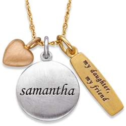 My Daughter My Friend Charm and Name Necklace