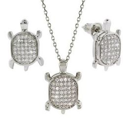 Micropave Cubic Zirconia Turtle Necklace and Earring Set