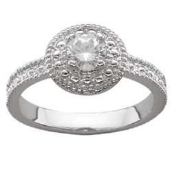 Silvertone Halo Cubic Zirconia Milgrain Engagement Ring