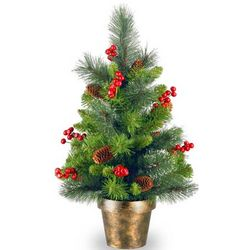 Decorated 2-Foot Potted Crestwood Spruce Tree