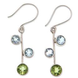 Budding Hope Blue Topaz and Peridot Dangle Earrings