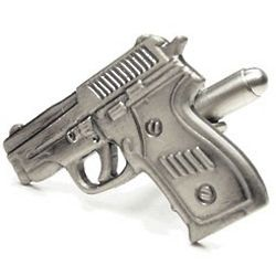 Nickel Plated Pistol Cufflinks