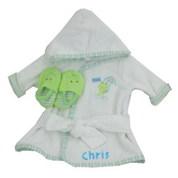 Embroidered Frog Prince Bathrobe & Slipper Set