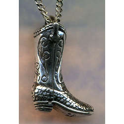 Alligator Skin Cowboy Boot Pendant Necklace