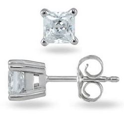 Princess Diamond Solitaire Earrings in 14k White Gold