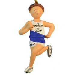 Brown Hair Male Marathon Runner Ornament