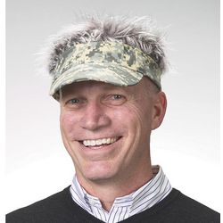 Flair Hair with Gray Hair and Camo Visor