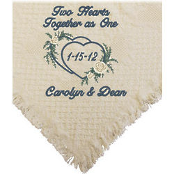 Personalized Floral Heart Wedding Afghan