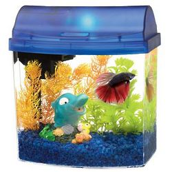 Blue Double Sided Mini Bow Desktop Aquarium