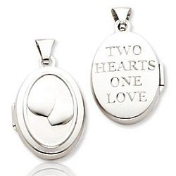14k White Gold Two Hearts One Love Oval Locket