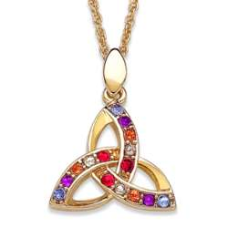 Multicolor Crystal Trinity Knot Necklace