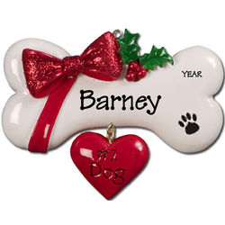 Bone and Dangling Heart #1 Dog Personalized Christmas Ornament