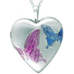 Heart-Shaped Butterfly Locket in Sterling Silver
