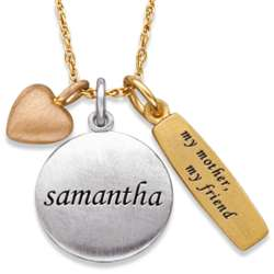 My Mother My Friend Charm and Name Necklace