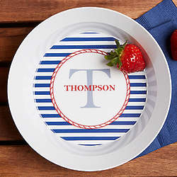 Personalized Anchors Aweigh Melamine Bowl