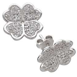 Sterling Silver Clover Cubic Zirconia Studded Earrings