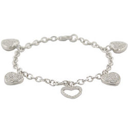 Tiffany Inspired Charm Bracelet with Pave Hearts