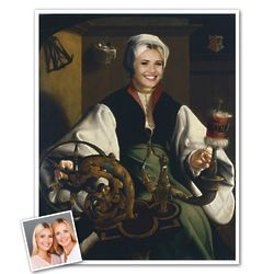A Lady Spinning Classic Painting Personalized Art Print