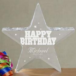 Engraved Happy Birthday Star Plaque