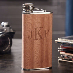 Classic Monogram Wood-Wrapped Drinking Flask