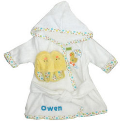 Infants Embroidered Ducky Bathrobe & Slipper Set