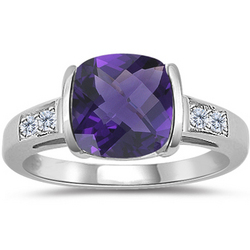 Amethyst & Diamond Checkerboard Ring in 14K White Gold