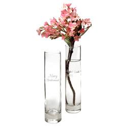 Engraved Glass Bud Vase