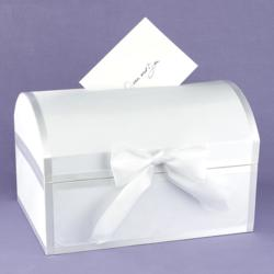 White Satin Wedding Card Box