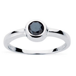 Black Diamond Stackable Ring in 10K White Gold