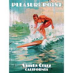 Personalized Pleasure Point Surfing Vintage Wood Plaque