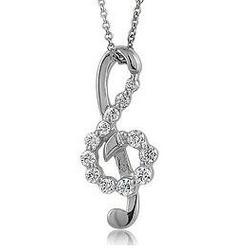 CZ Accent Treble Clef Music Note Pendant Necklace