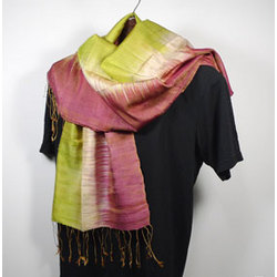Handwoven Thai Silk Scarf in Green and Red