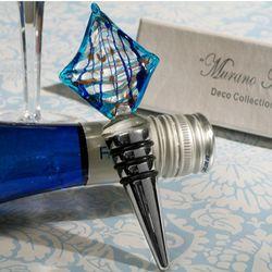 Murano Art Deco Sailboat Glass Wine Stopper